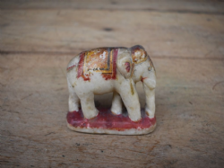 Small Marble Elephant Decorated with Gold Leaf